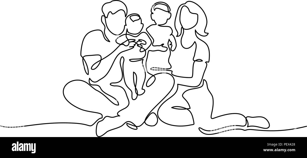 Continuous one line drawing. Family concept. Father, mother and two kids sitting together. Vector illustration - Stock Vector
