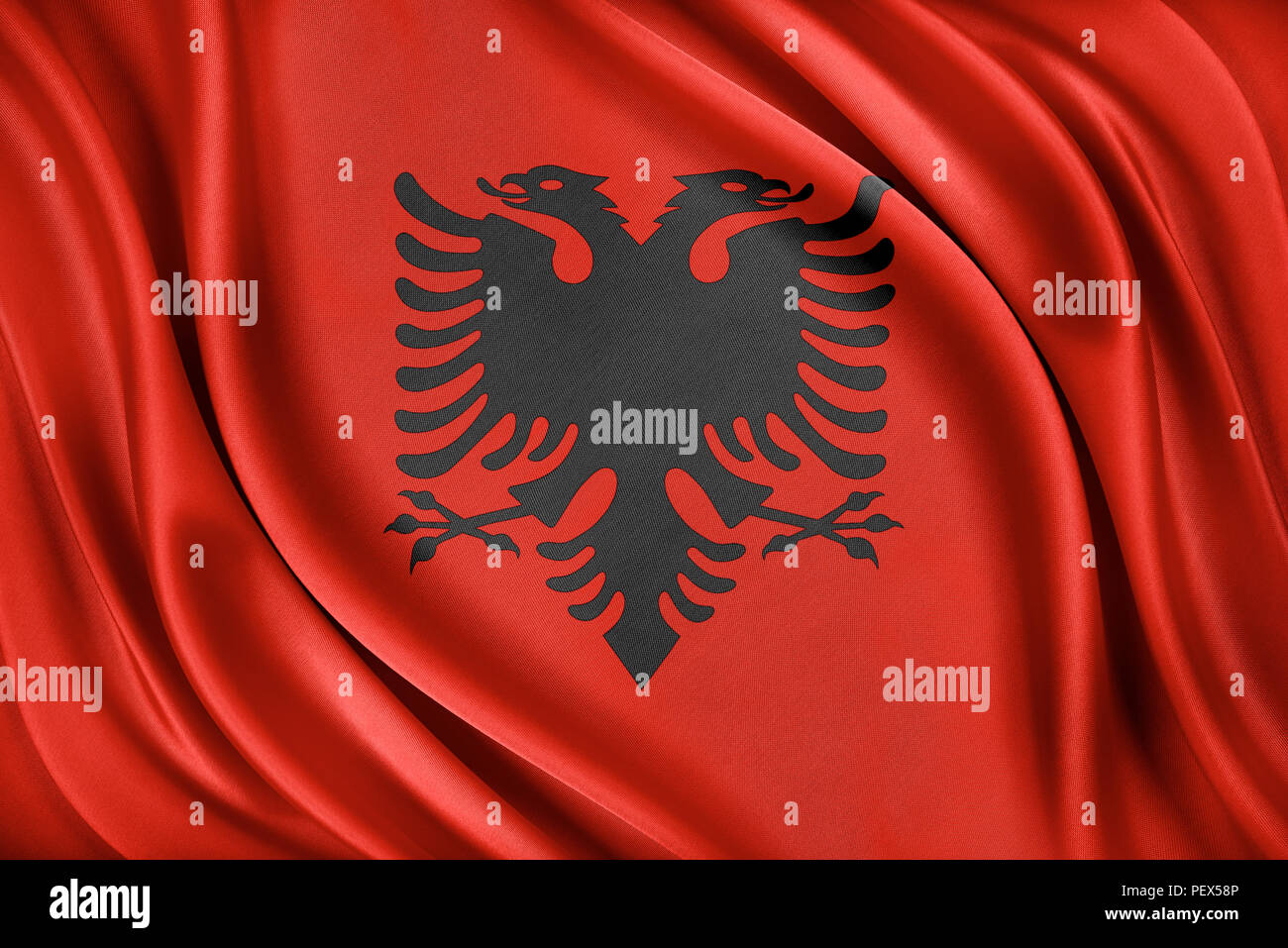 Albania flag. Flag with a glossy silk texture. - Stock Image