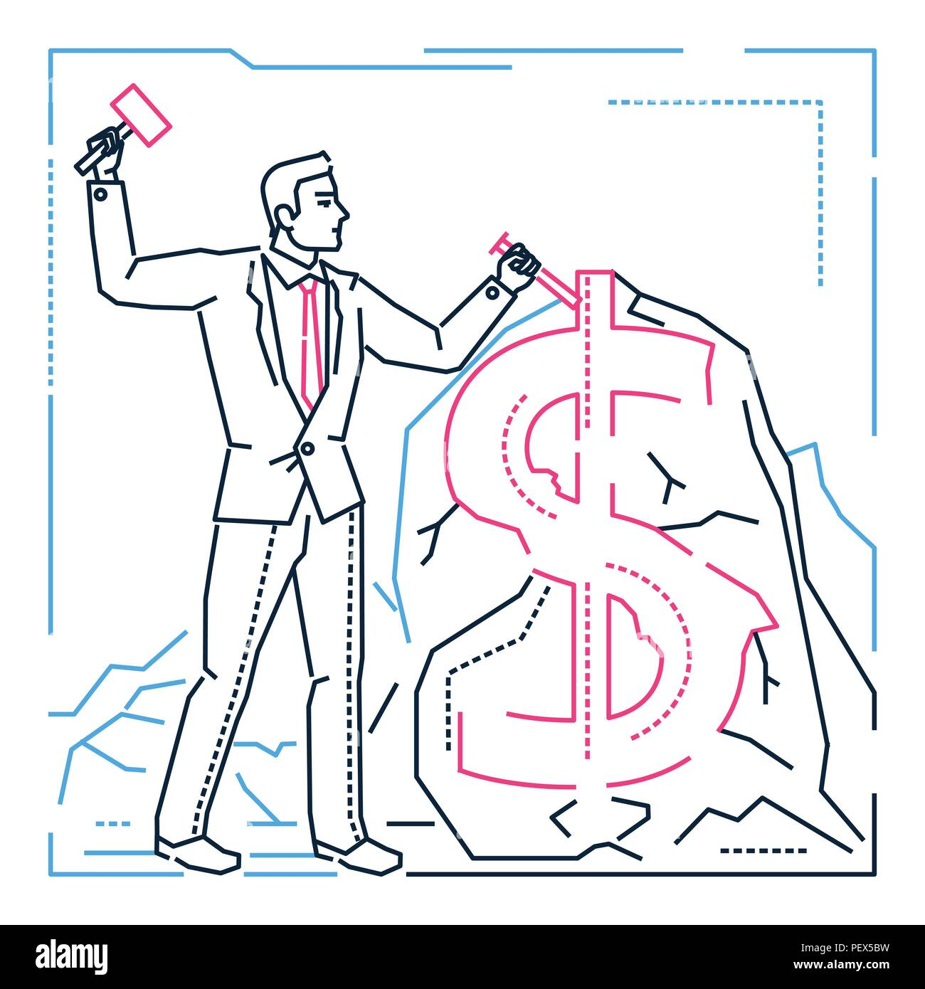 Businessman making money - line design style illustration - Stock Vector