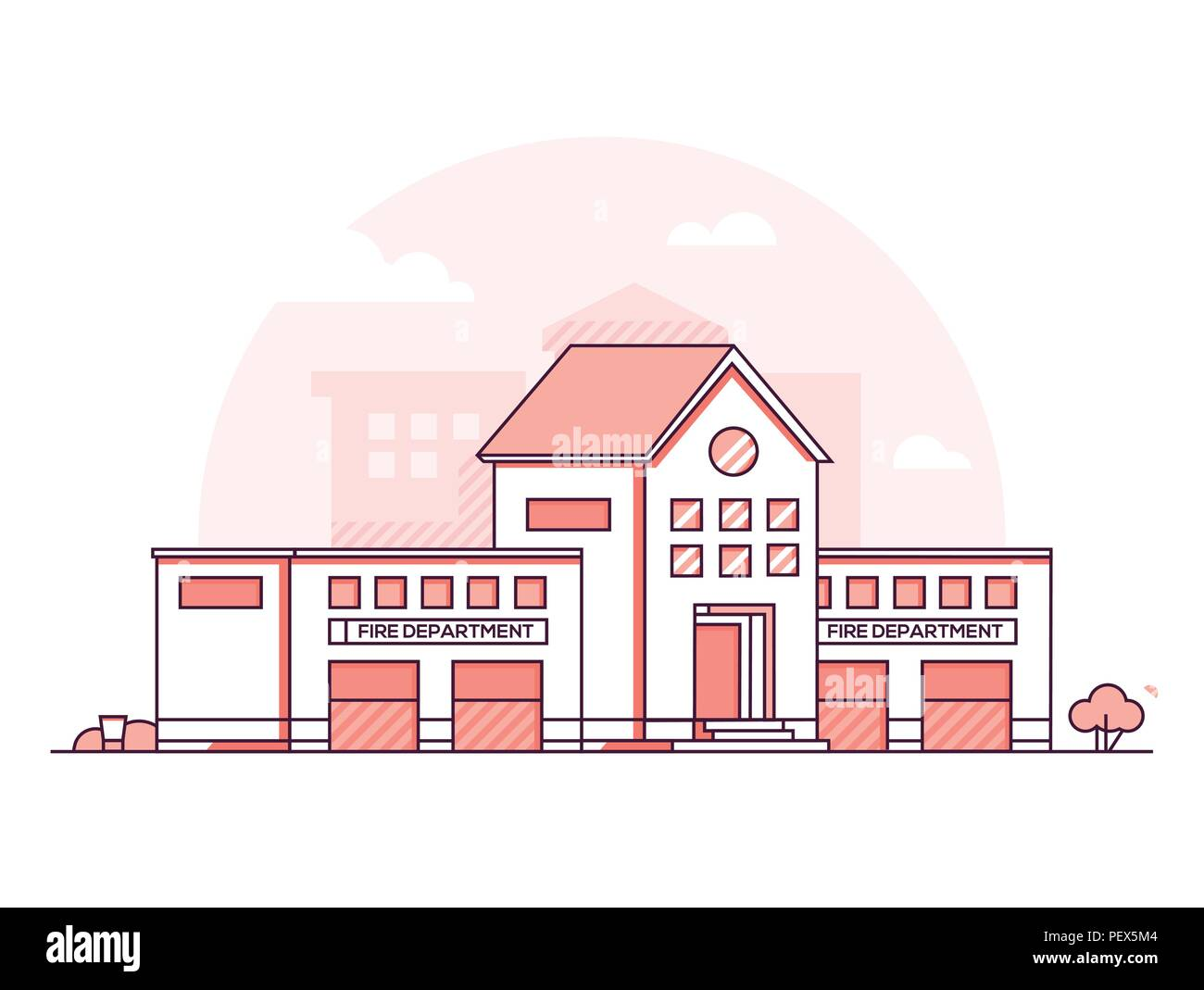 Fire department modern thin line design style vector illustration