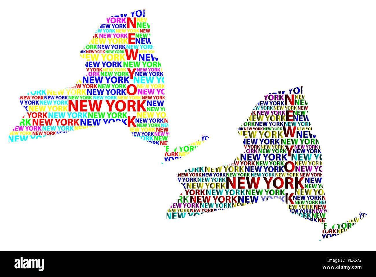 Map Of New York State And Surrounding States.Sketch New York United States Of America Letter Text Map New York