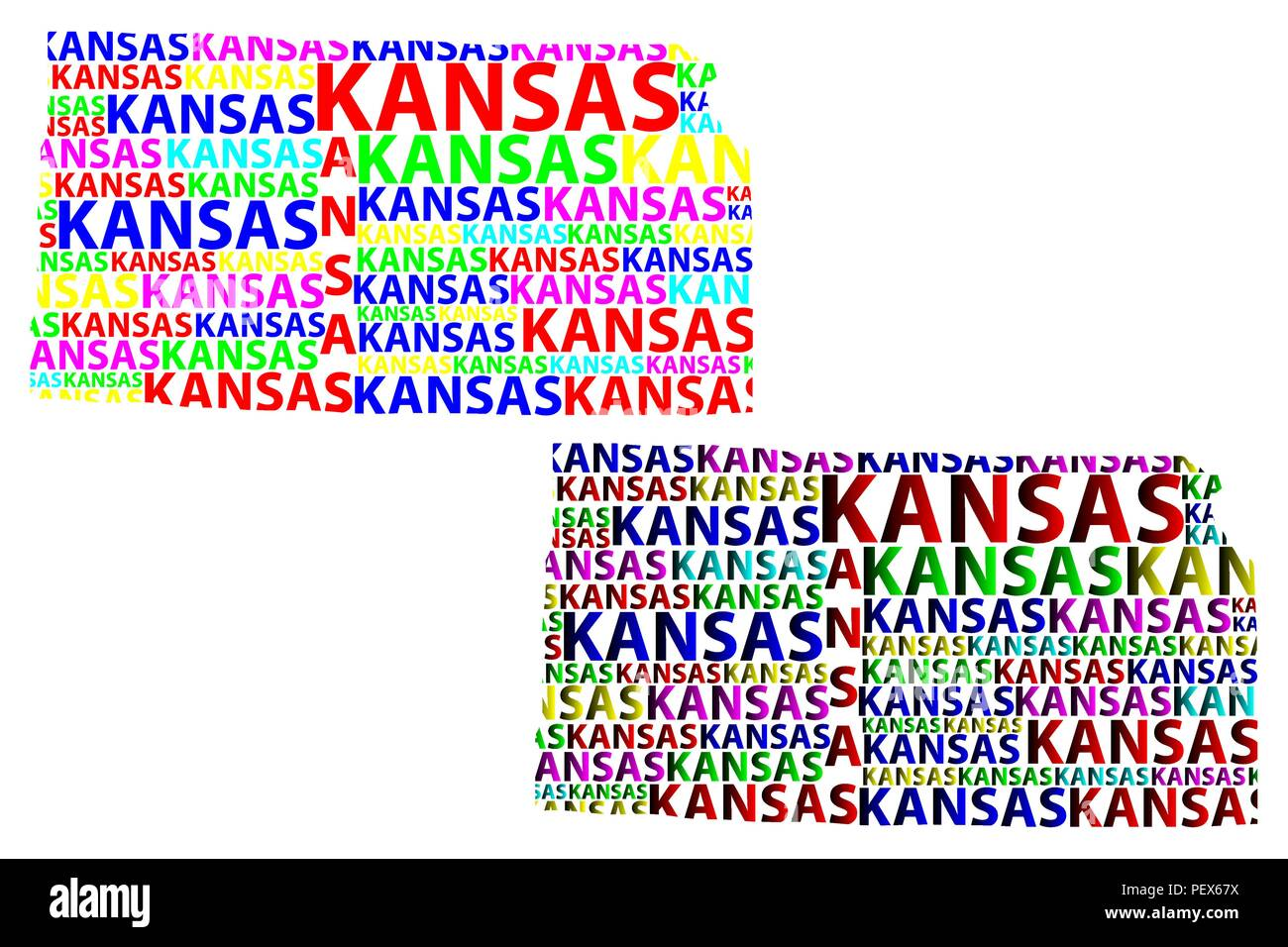 Sketch Kansas (United States of America) letter text map, Kansas map ...
