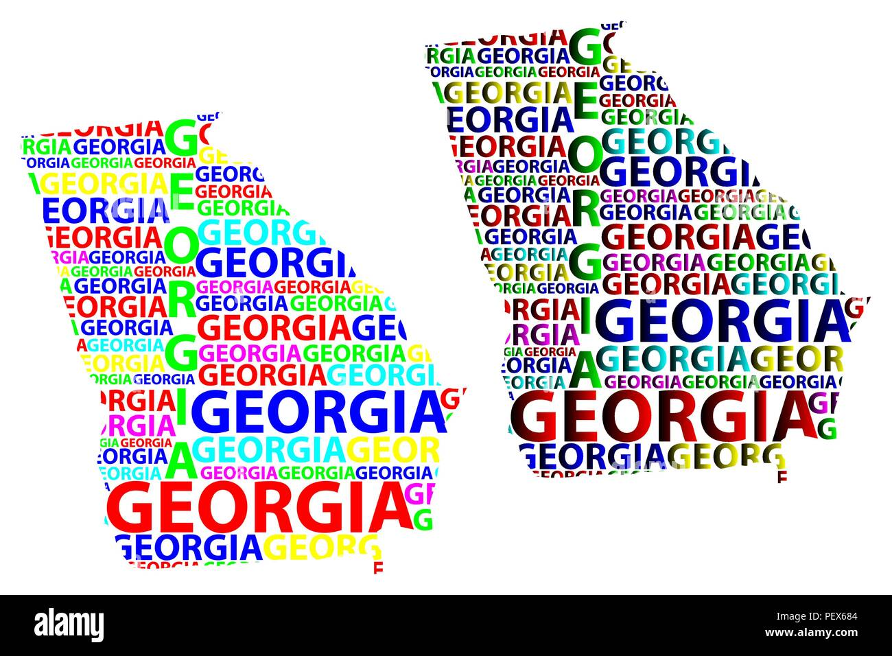 United States Map Georgia.Sketch Georgia United States Of America Letter Text Map Georgia