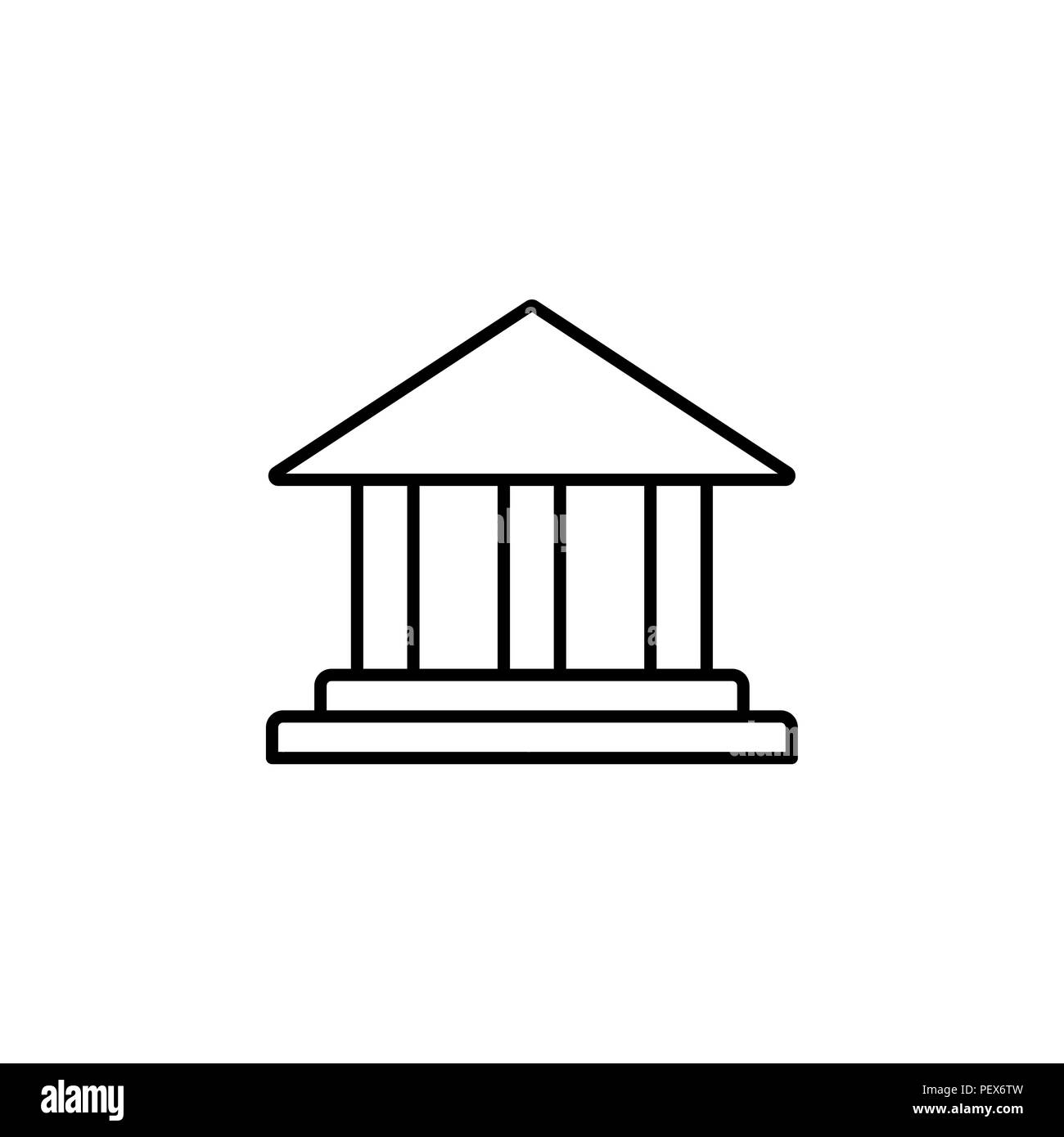Museum building icon. vector illustration black on white background - Stock Image
