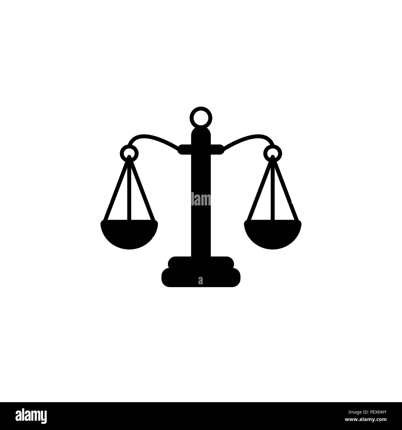 Pictograph of justice scales vector illustration black on white background