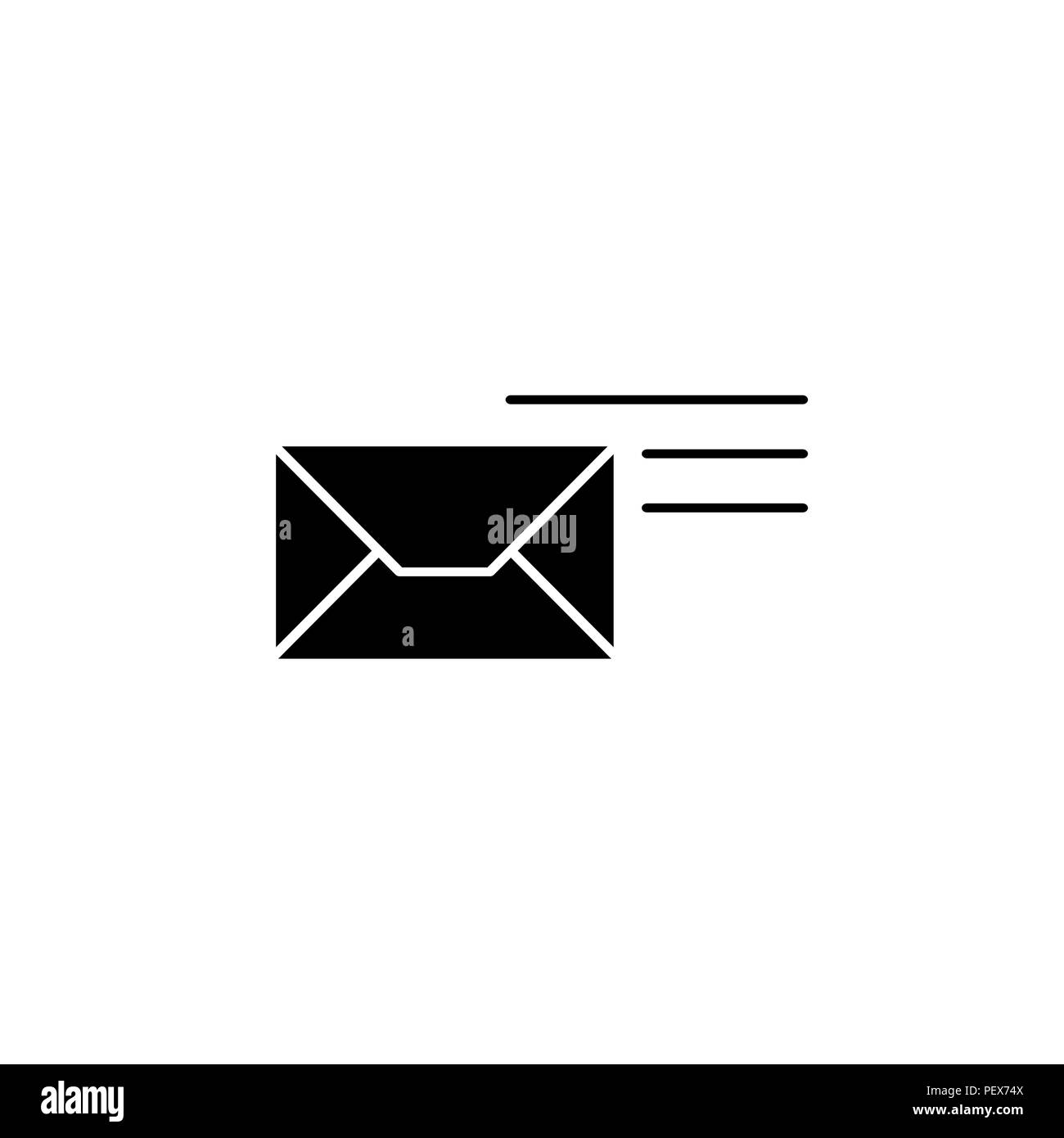 Pictograph of mail vector illustration black on white background