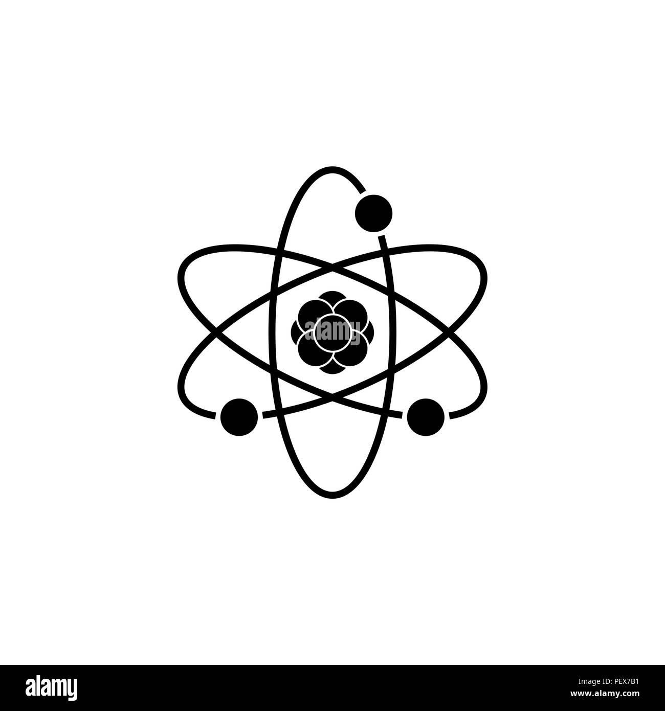 Pictograph of atom vector illustration black on white background