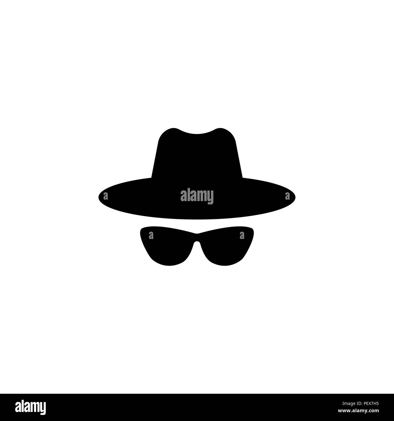 Agent icon. Spy sunglasses. Hat and glasses - Stock Image