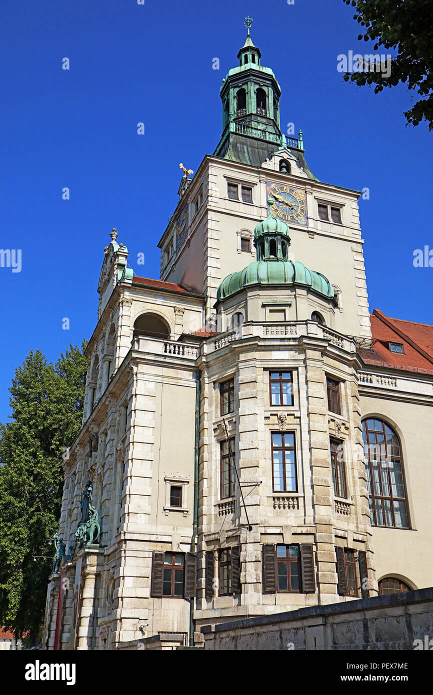 Munich Germany, view of Bavarian National Museum of decorative arts, built in historicism style in 1894-1900,designed by Gabriel von Seidl Stock Photo