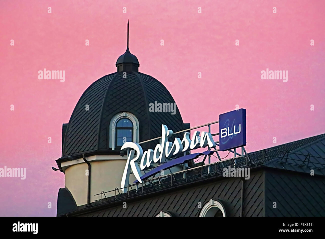 KYIV, UKRAINE - AUGUST 4, 2018: Radisson Blu Hotel Kyiv Podil is located in the historic district of the city - Podil - Stock Image