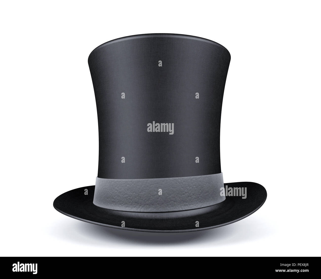 0edb534ea12 Black top hat with leather grey ribbon isolated on white background ...