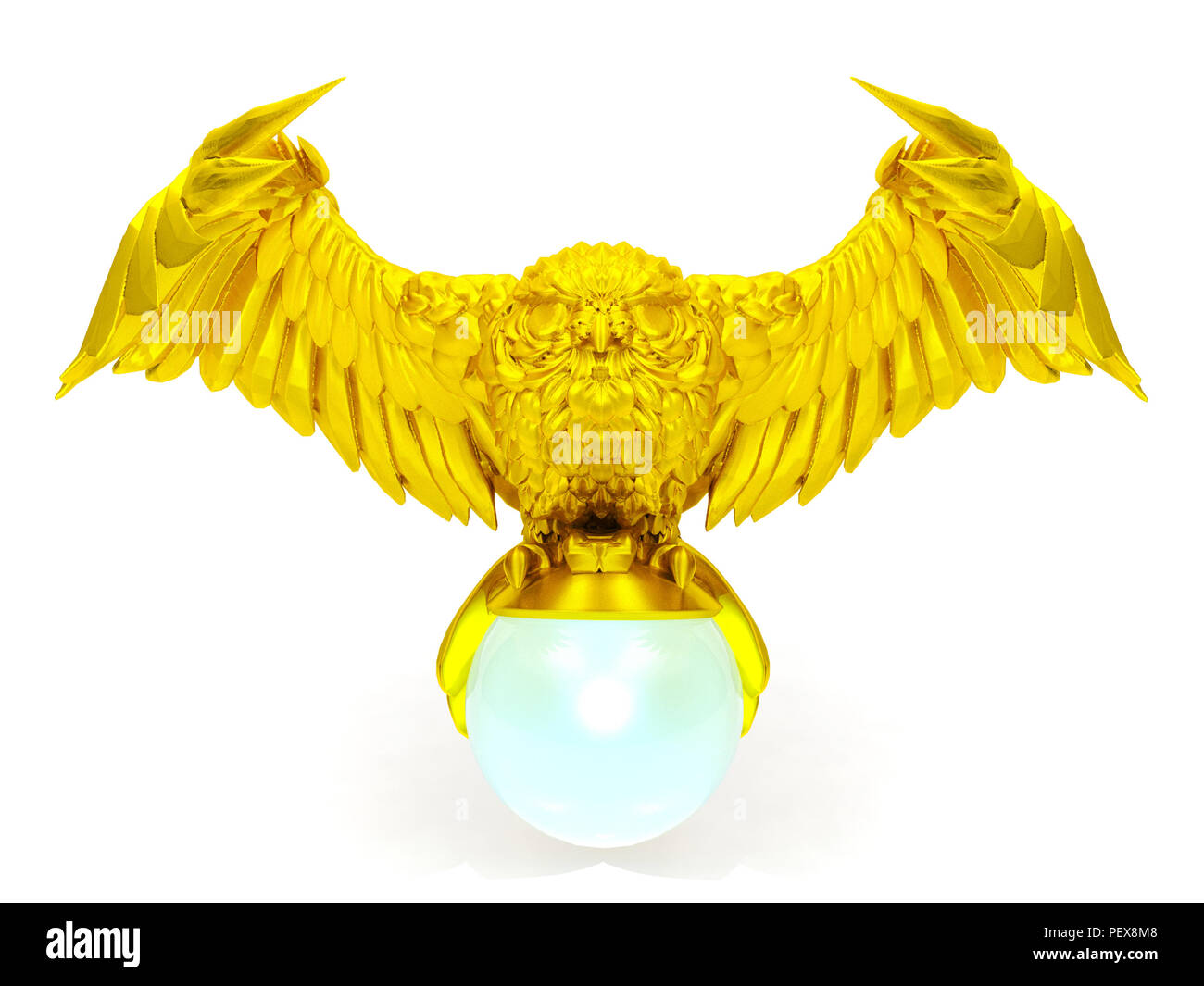 Golden owl figure and magical ball isolated on white background - Stock Image