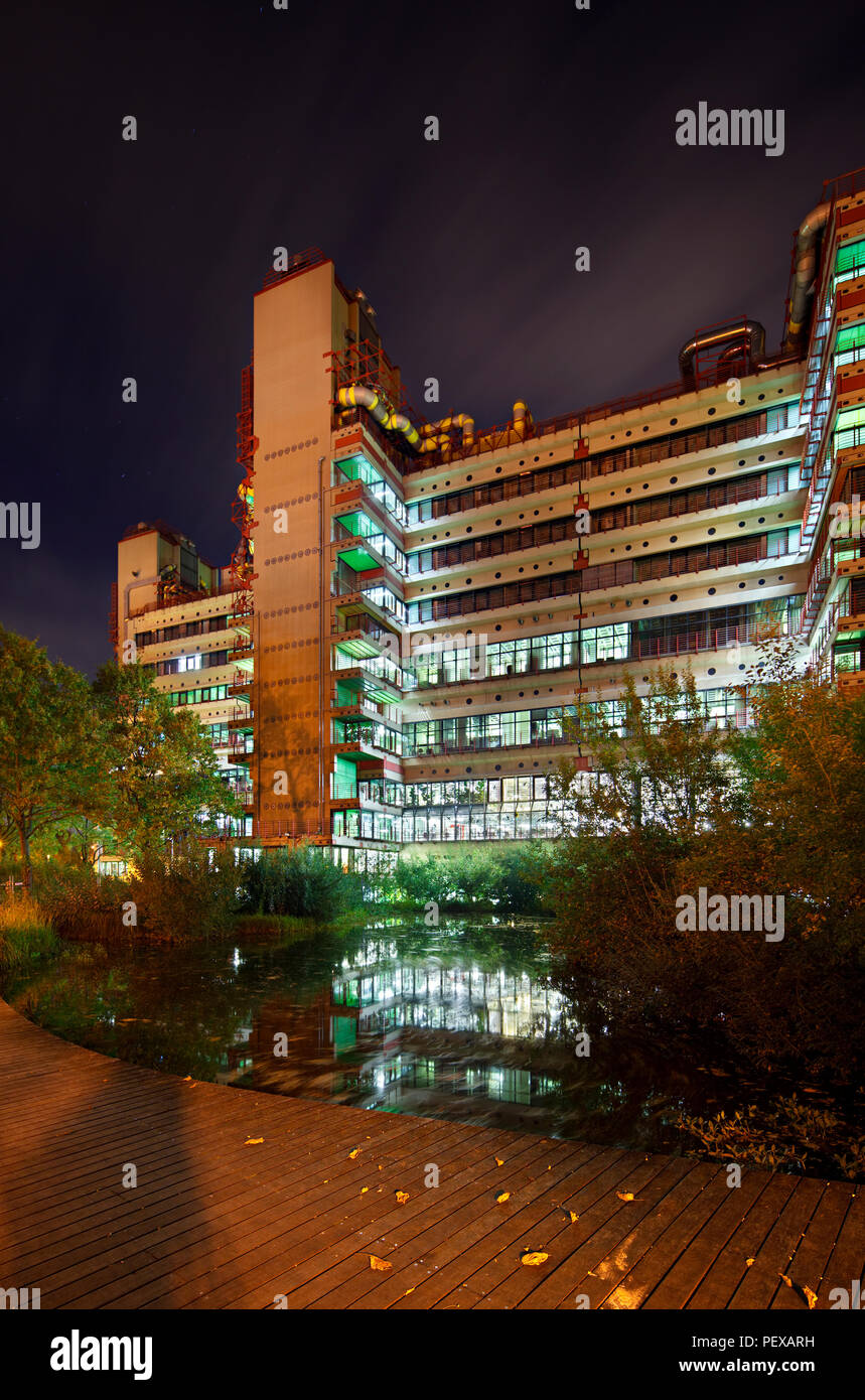 The modern university clinic of Aachen, Germany at night. Perspective  corrected via lens shift.
