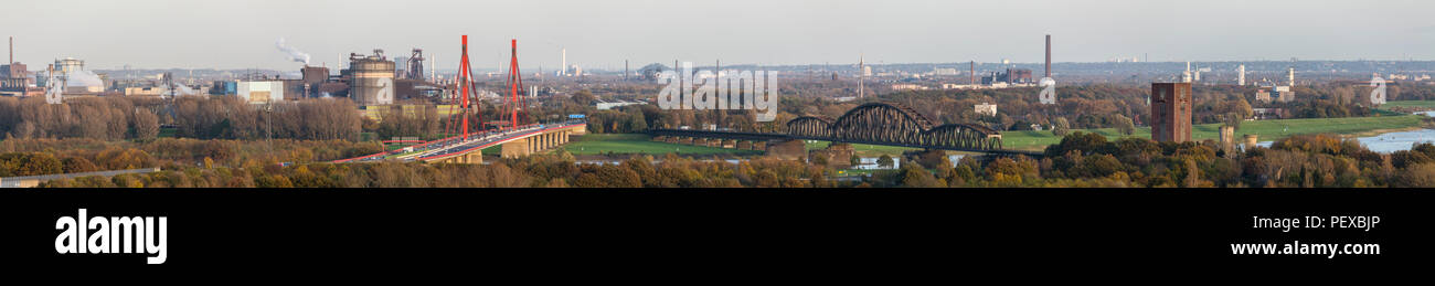 Panoramic view over Rhine river to the industrial north of Duisburg, Germany in the Ruhr Area. - Stock Image