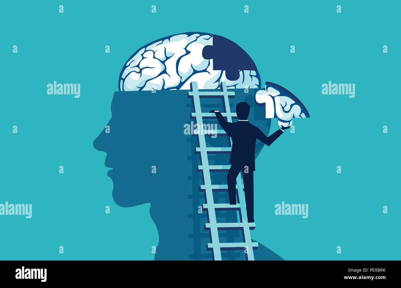 Brain puzzle vector concept. Business man climbing up the stairs reaching human head to add piece of brain puzzle. - Stock Vector