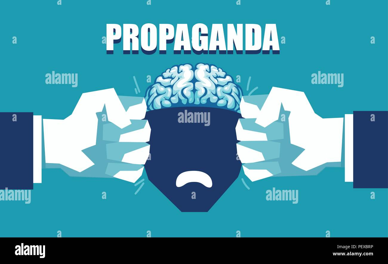 Mind control and propaganda concept. Vector of an open human head squeezed between two fists - Stock Vector