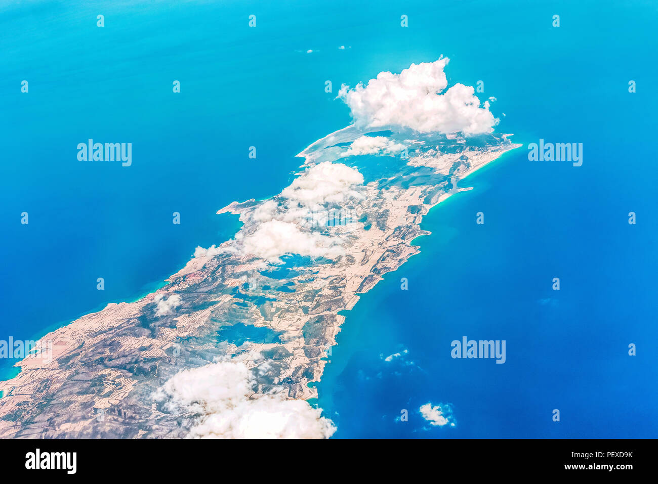 View from the aircraft to the northeastern cape of the island of Cyprus. - Stock Image