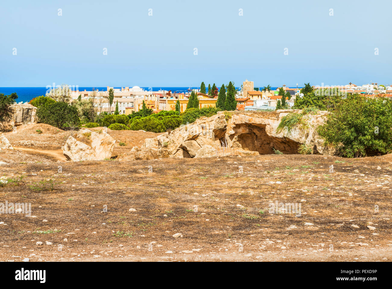 View of the town of Paphos in Cyprus.  Paphos is known as the center of ancient history and culture of the island.  It is very popular as a center for - Stock Image