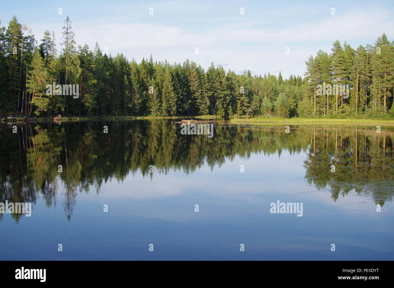 Beautiful lake scene on a sunny day in Dalarna - Stock Image