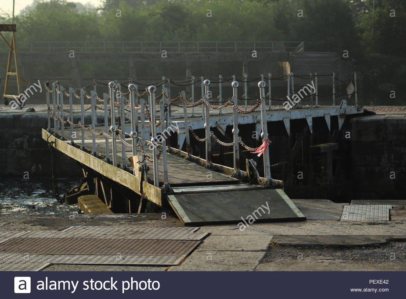Lock Gates at Irlam Locks - Stock Image