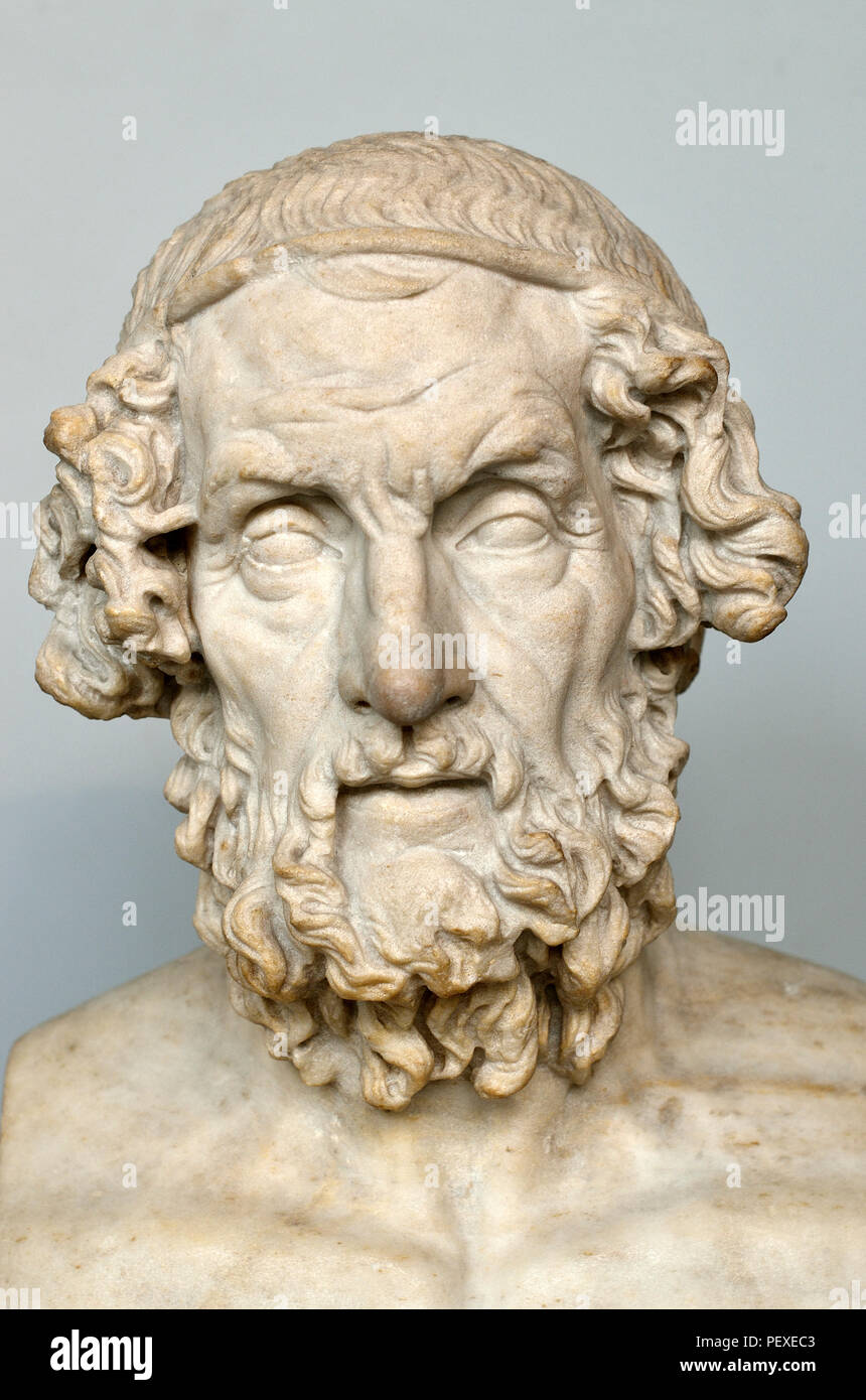 Marble bust of Homer (author of the Iliad and the Odyssey: 7th/8thC BC) British Museum, Bloomsbury, London, England, UK. Roman copy of Greek original - Stock Image