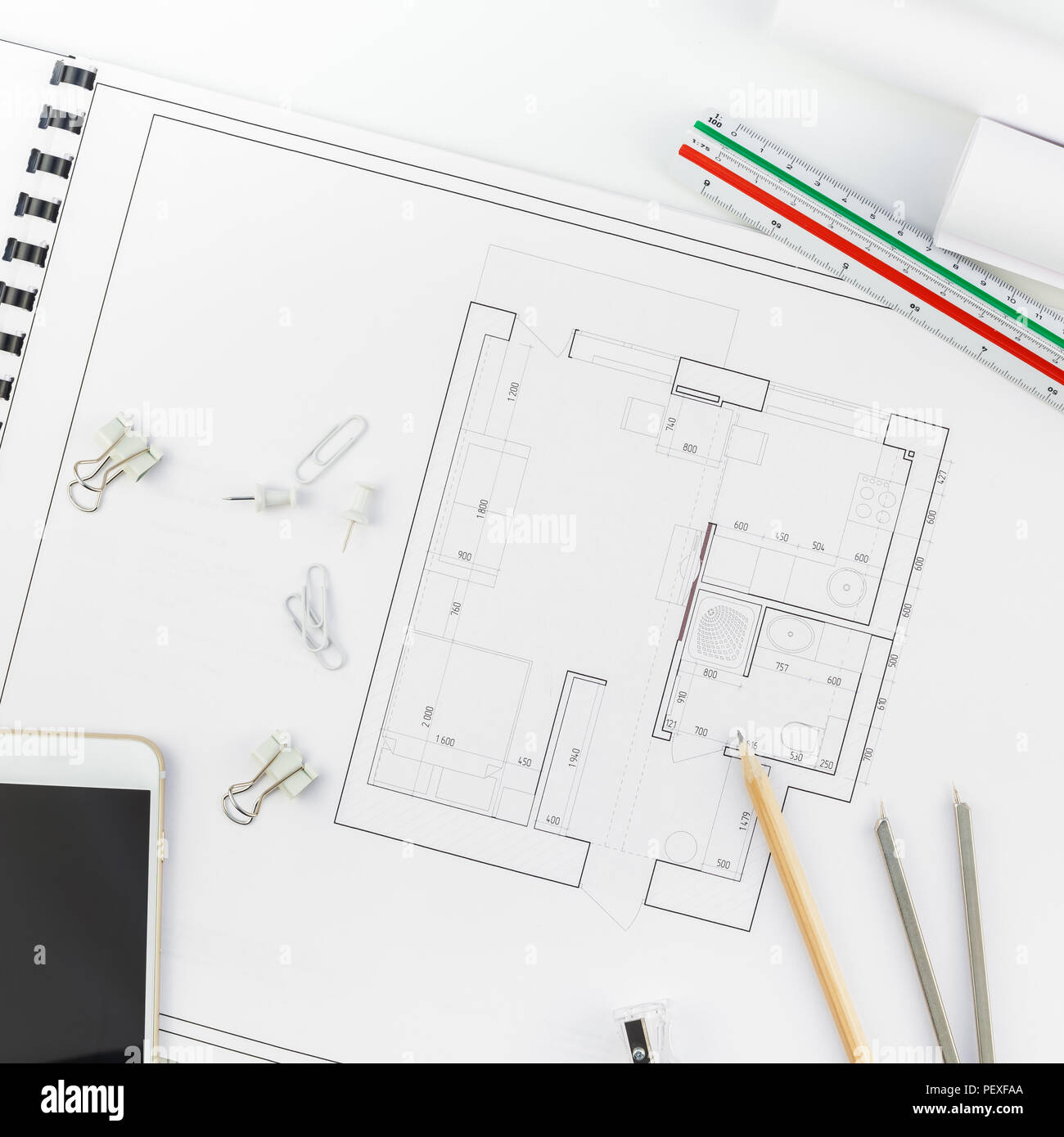 Creative Flat Lay Overhead Top View Blueprints Architectural Flat Project  Plan And Office Supplies On Decorator Square Table Workspace With Swatches T