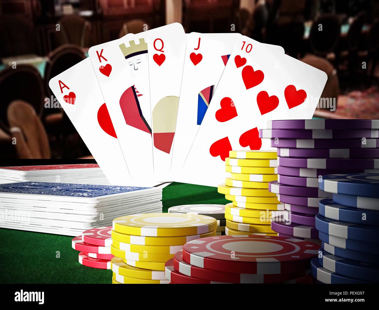 Poker royal flush hand and casino hands standing on poker table. 3D illustration. - Stock Image