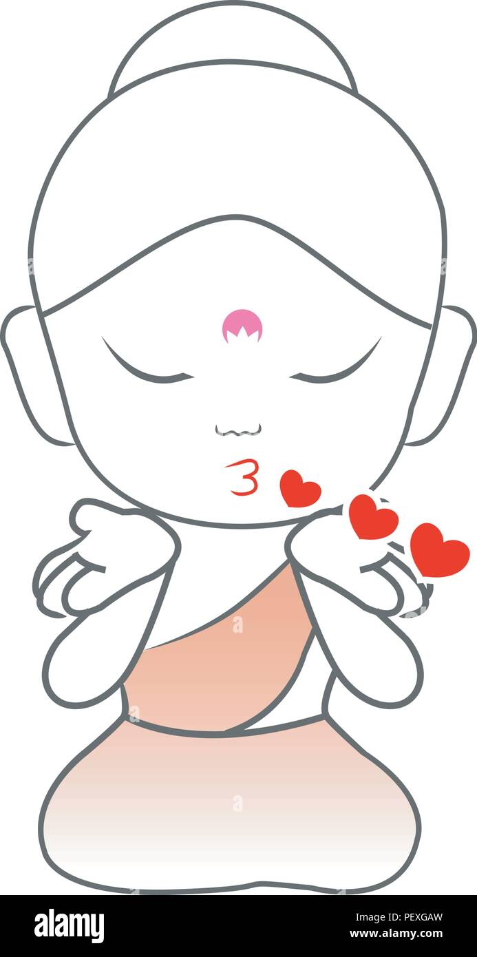 Little Buddha blowing kisses - Stock Vector