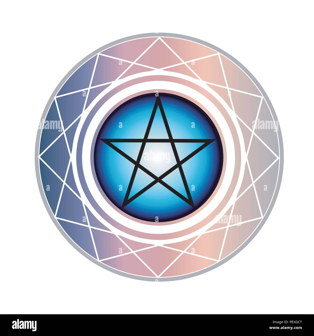 The Pentagram is a star with 5 points encased in a circle. One points upward meaning spirit. The other four points all represent an element of earth - Stock Image