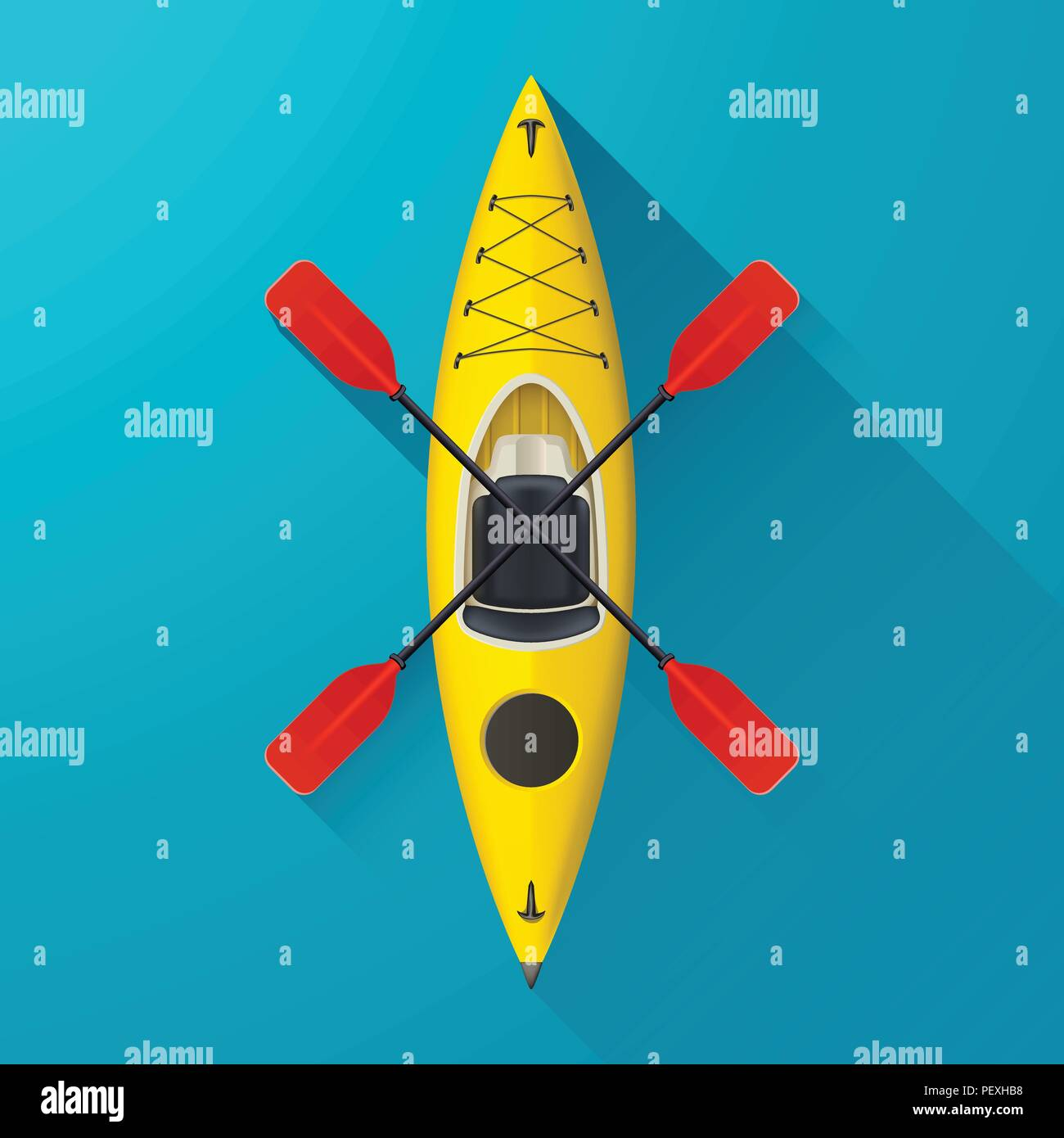 kayak on blue background - Stock Vector