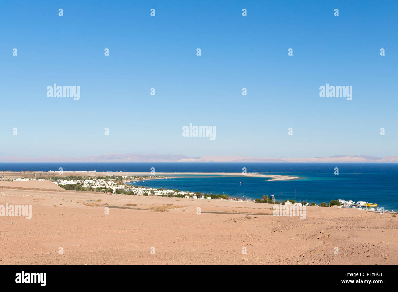 View of the Laguna Bay in Dahab, Egypt - Stock Image