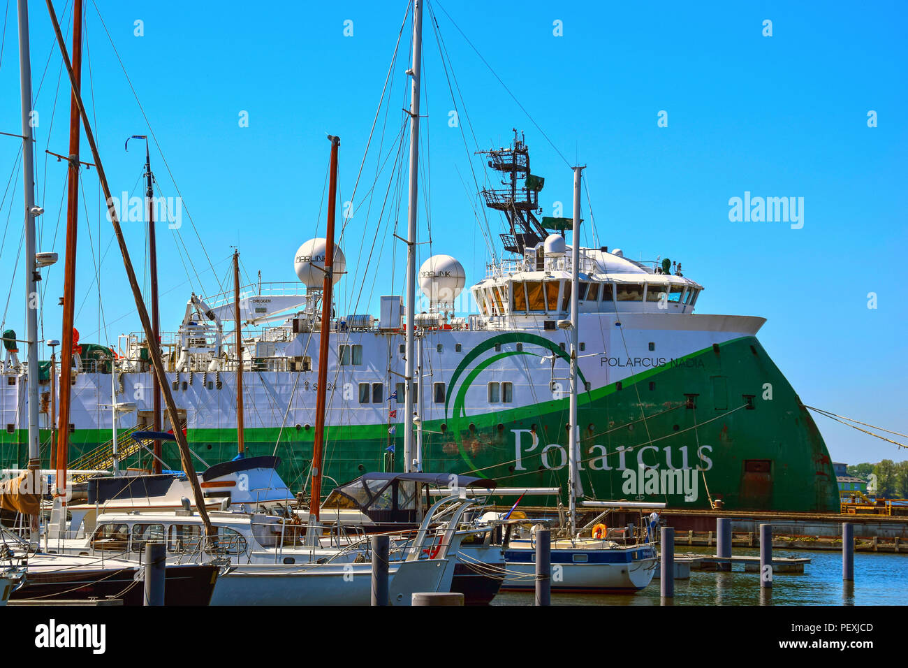 AMSTERDAM, NETHERLANDS - MAY 6, 2018: Polarcus Nadia, an ultra-modern seismic vessel, in the port of Amsterdam. - Stock Image