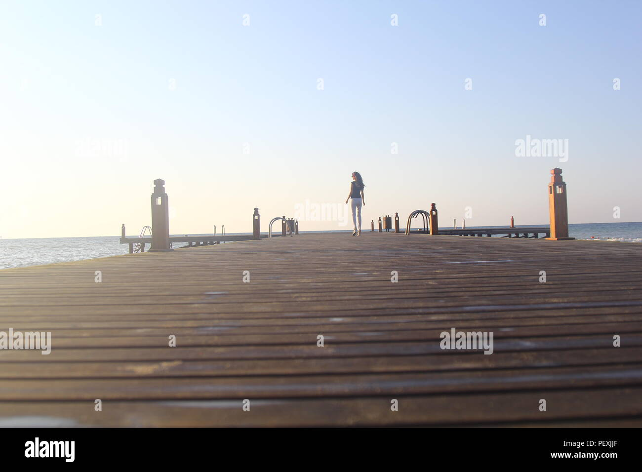 sunset in pier - Stock Image