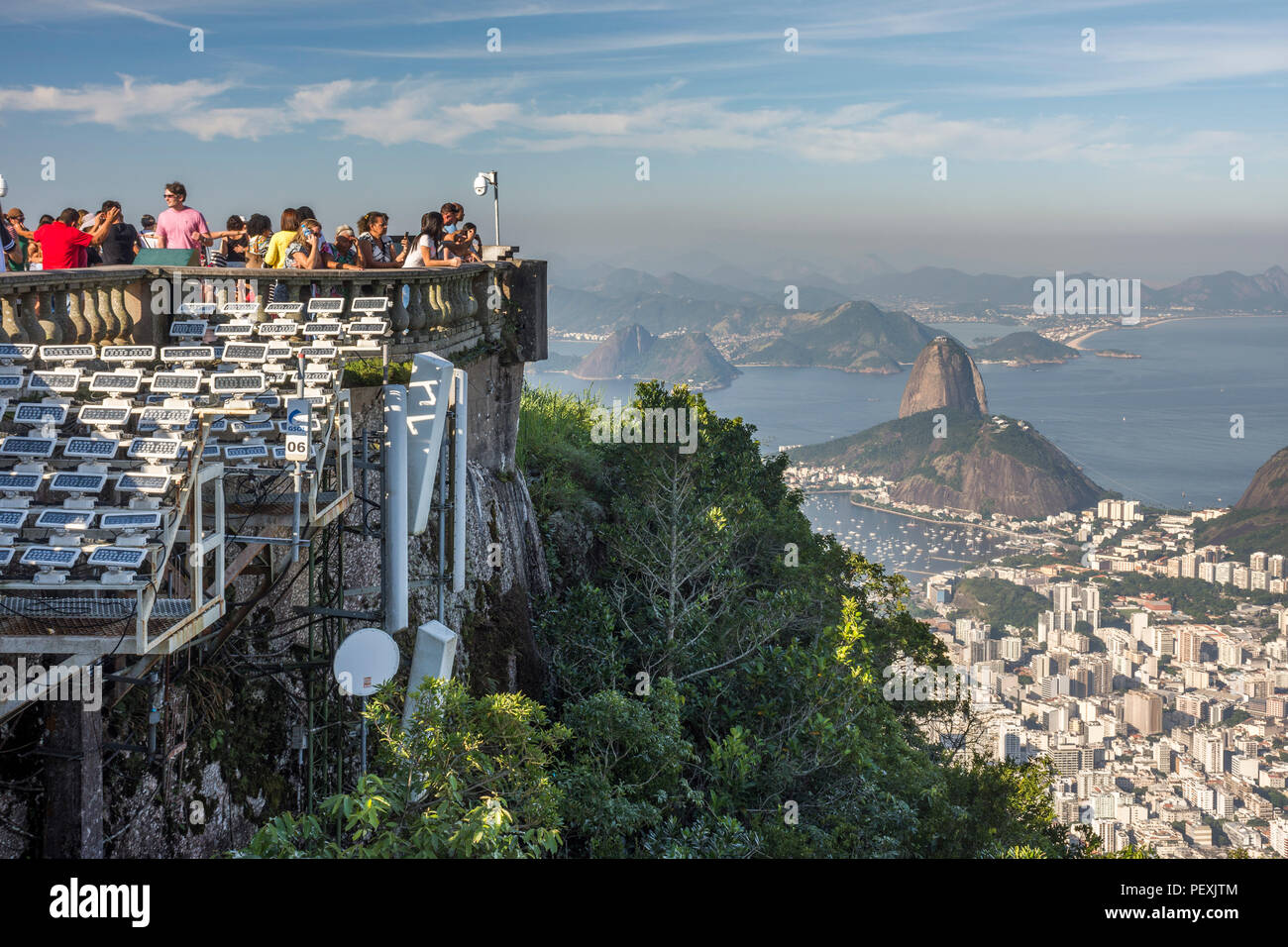 View from Christ the Redeemer on top of Corcovado Mountain in Rio de Janeiro, Brazil - Stock Image