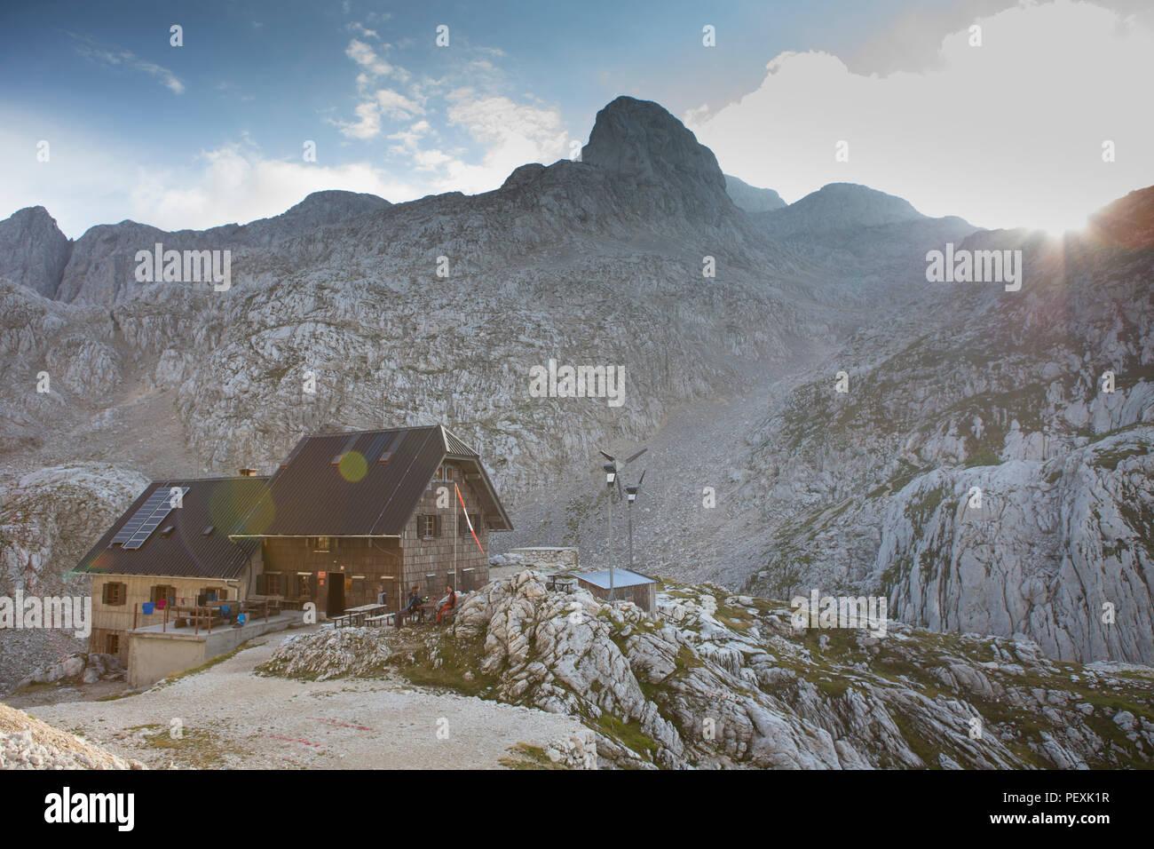 Mountain hut in Triglav National Park, Slovenia - Stock Image