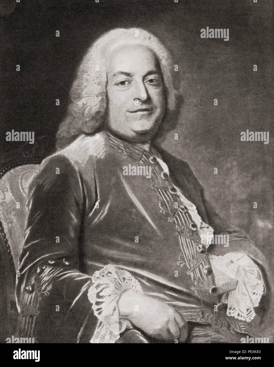 Antoine Gaspard Grimod de La Reynière, 1687 - 1754.  French financier.  After a work by French Rococo portraitist, Maurice Quentin de La Tour, (1704 – 1788).  From La Tour, published 1920. - Stock Image