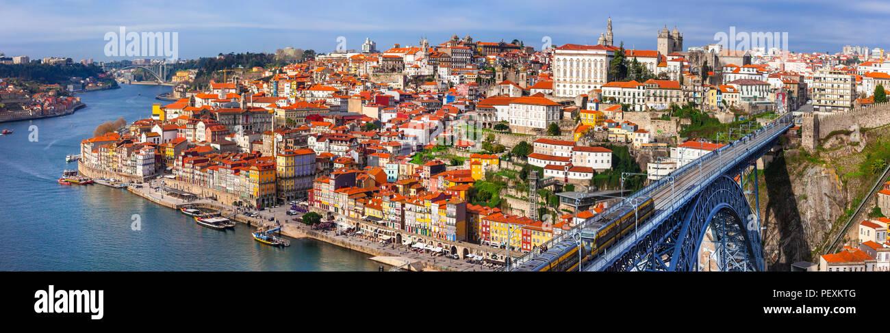 Impressive Oporto town ,panoramic view,Portugal. - Stock Image