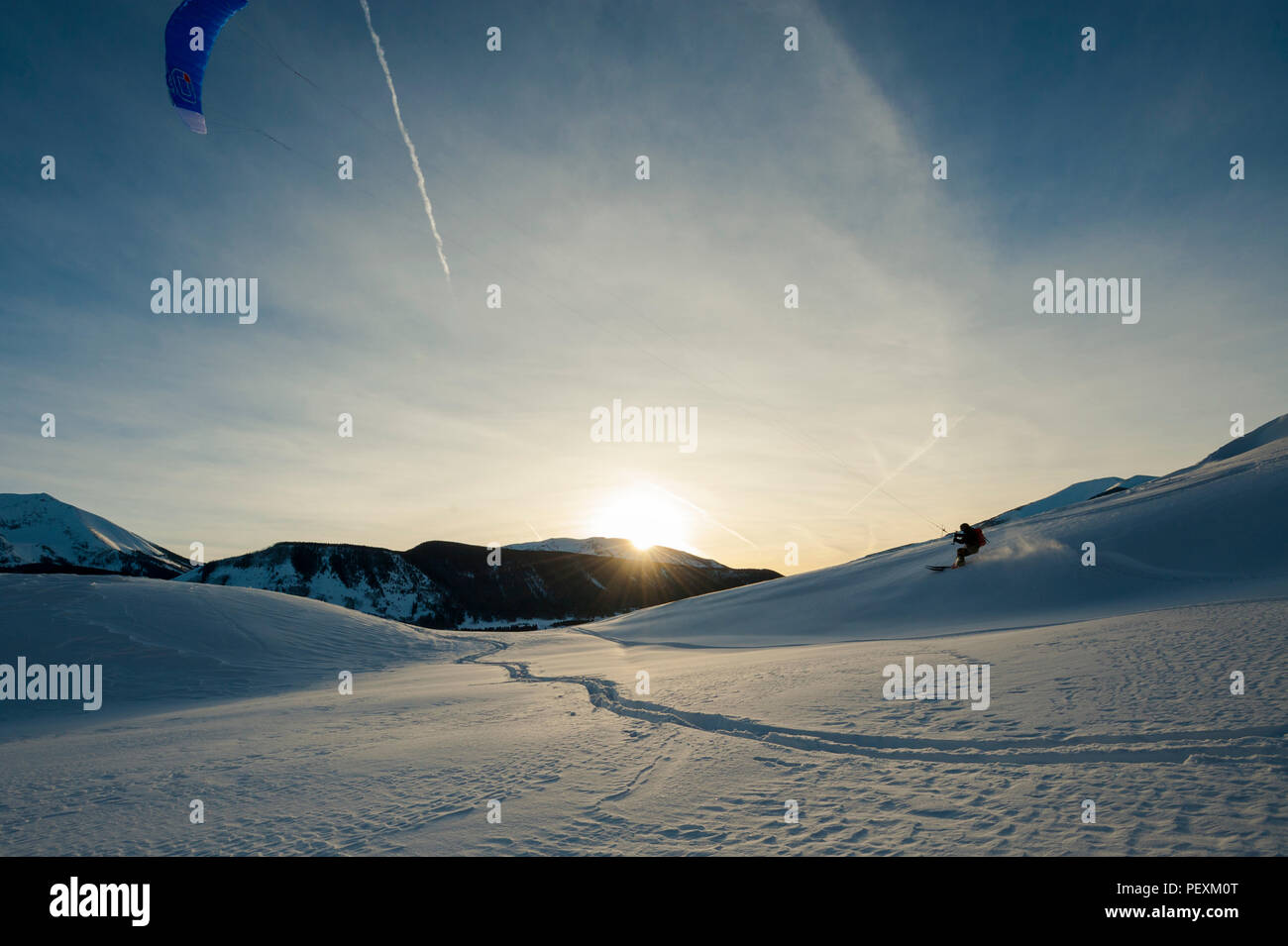 Man snowkiting near Crested Butte, Colorado, USA - Stock Image