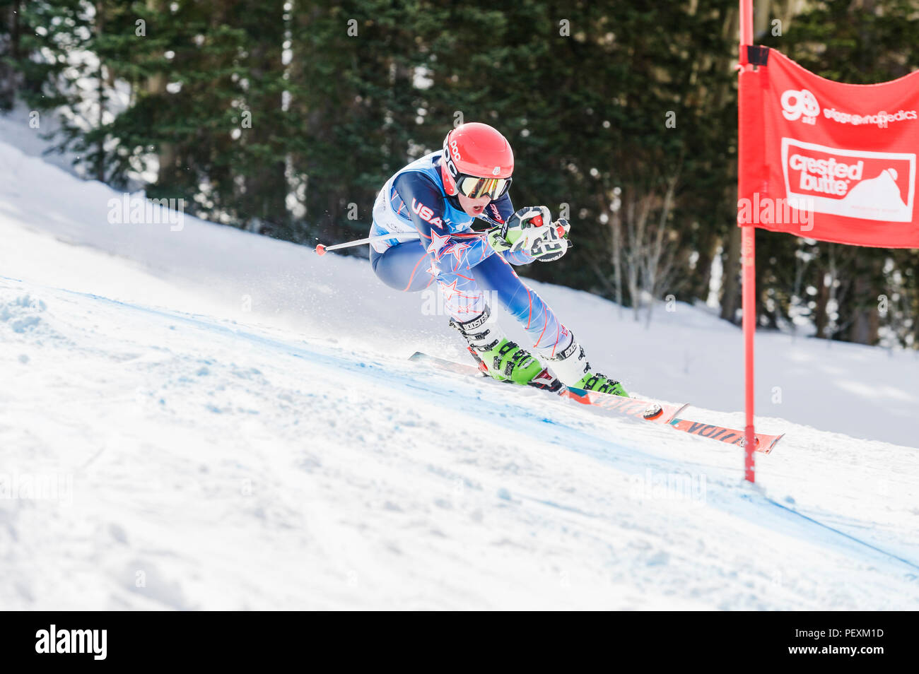 Downhill skiing, Crested Butte, Colorado, USA - Stock Image