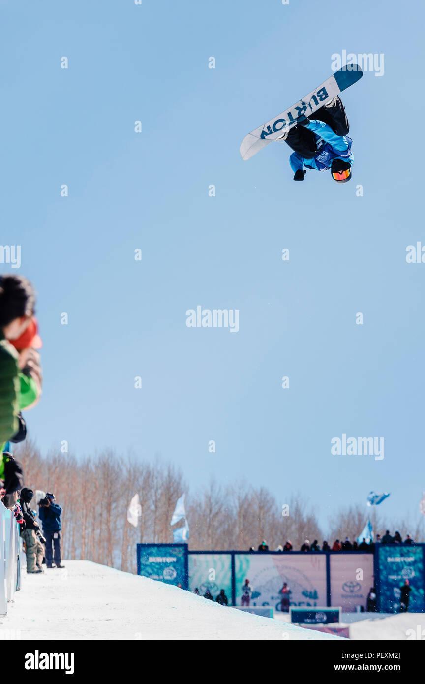 Half pipe snowboarding, Vail, Colorado, USA - Stock Image