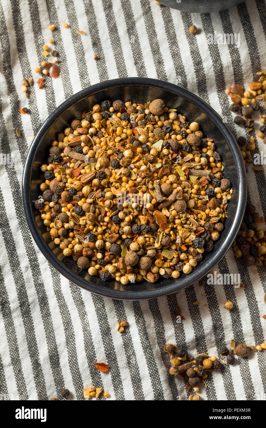 Dry Organic Pickling Spices in a Bowl - Stock Image