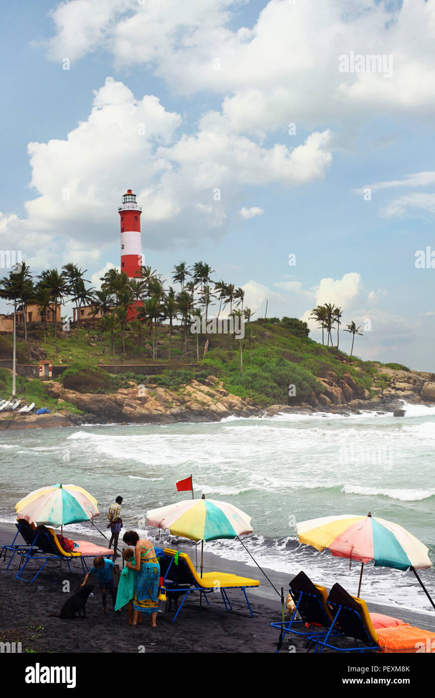 Vizhinjam lighthouse seen from beach, Kerala, India - Stock Image