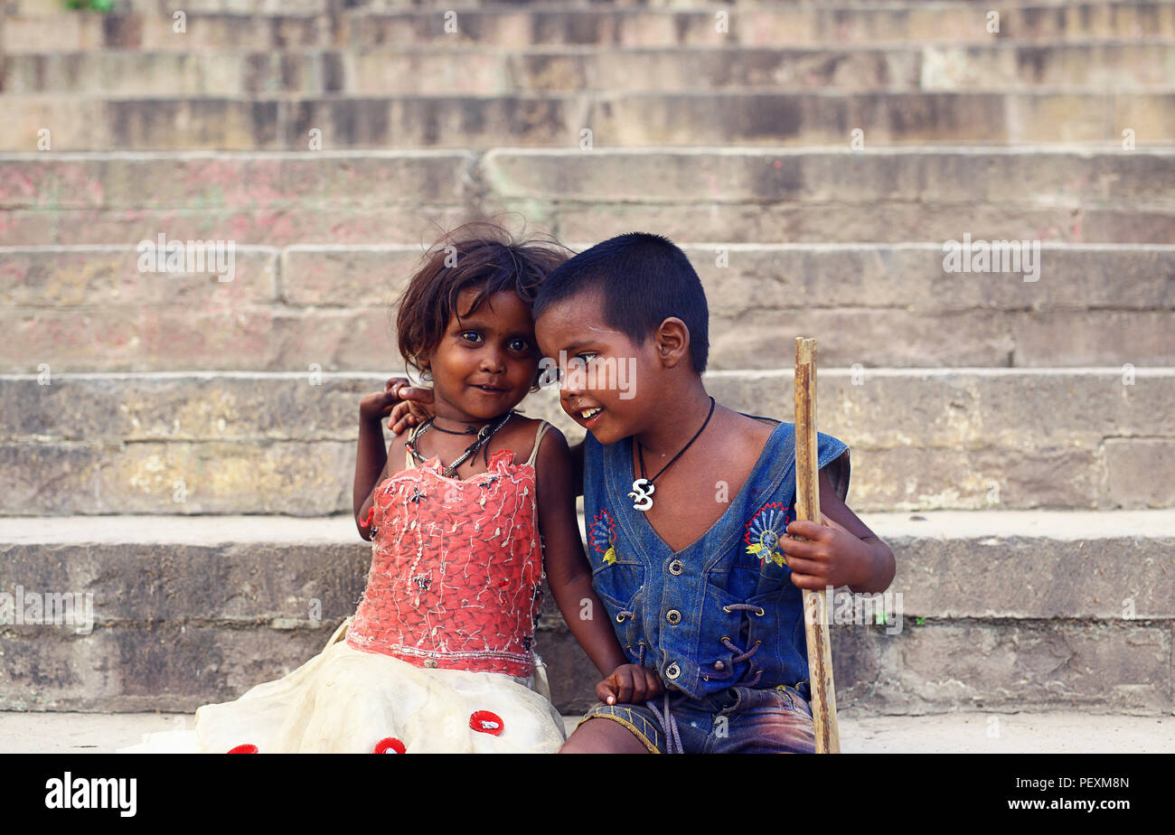 Portrait of two children, Varanasi, Uttar Pradesh, India - Stock Image