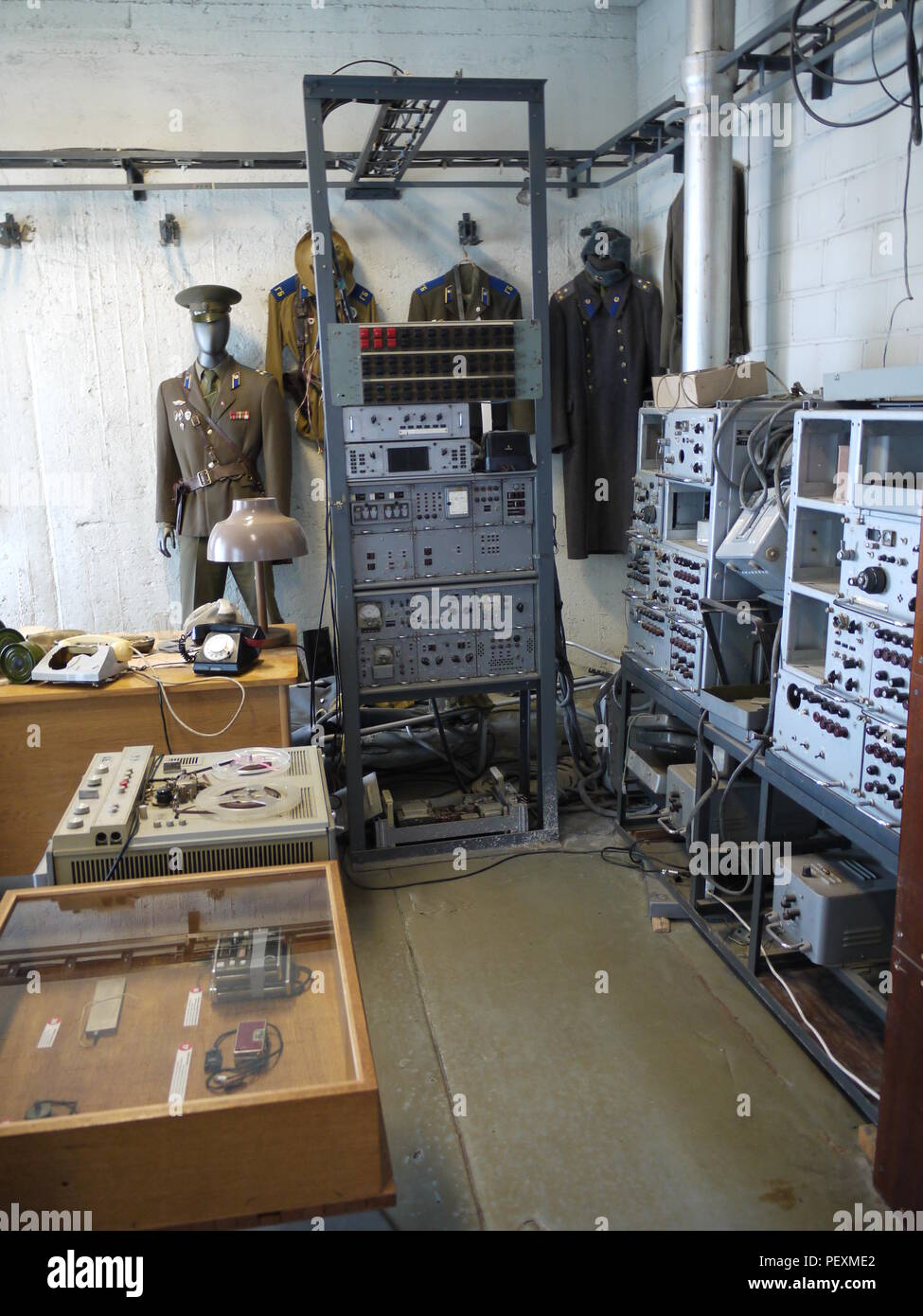 Listening and recording devices in KGB museum, in Tallinn (Estonia), inside hotel Viru, build during soviet time - Stock Image