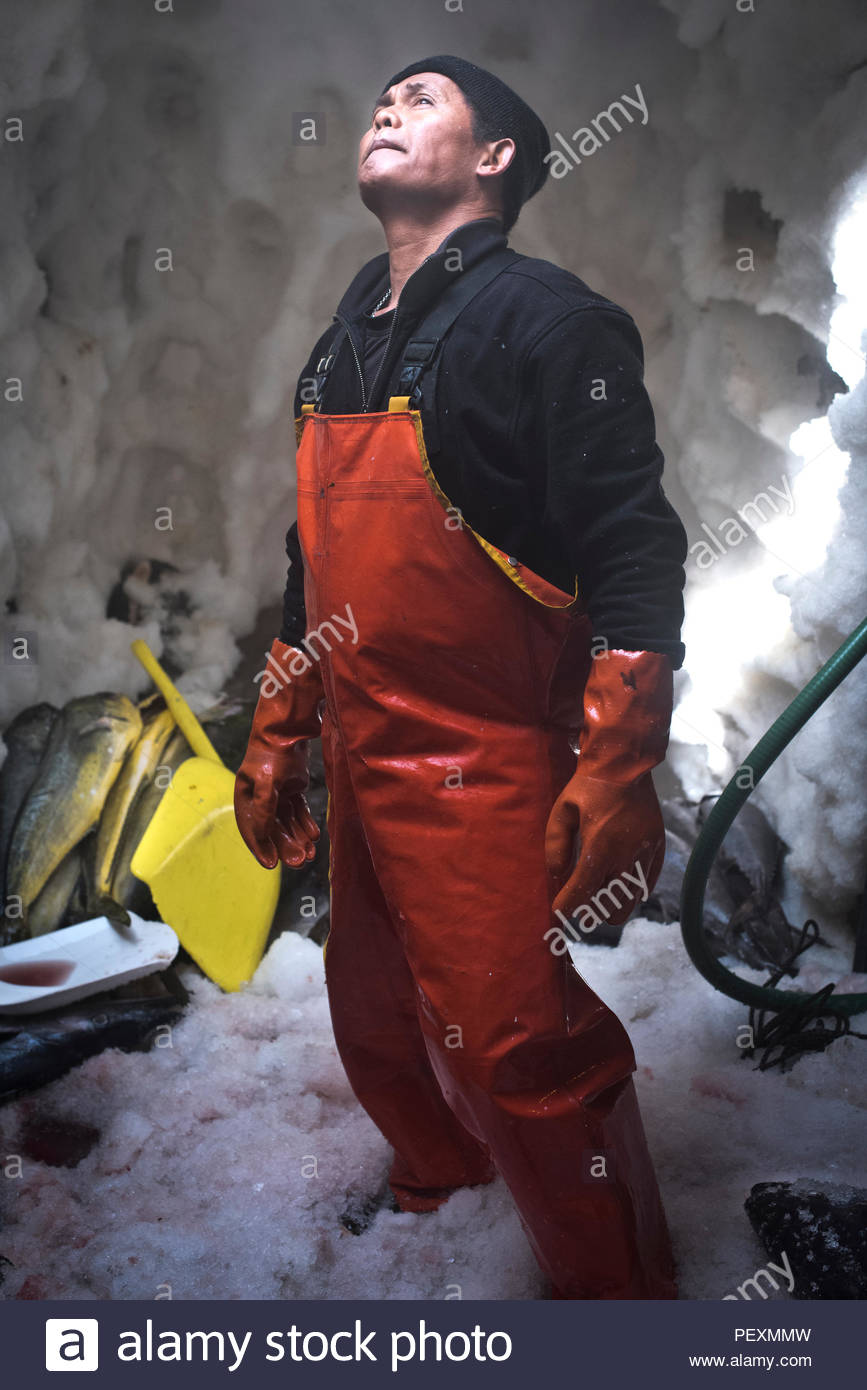 Portrait of deckhand in freezer on fishing boat, San Diego, California, USA - Stock Image