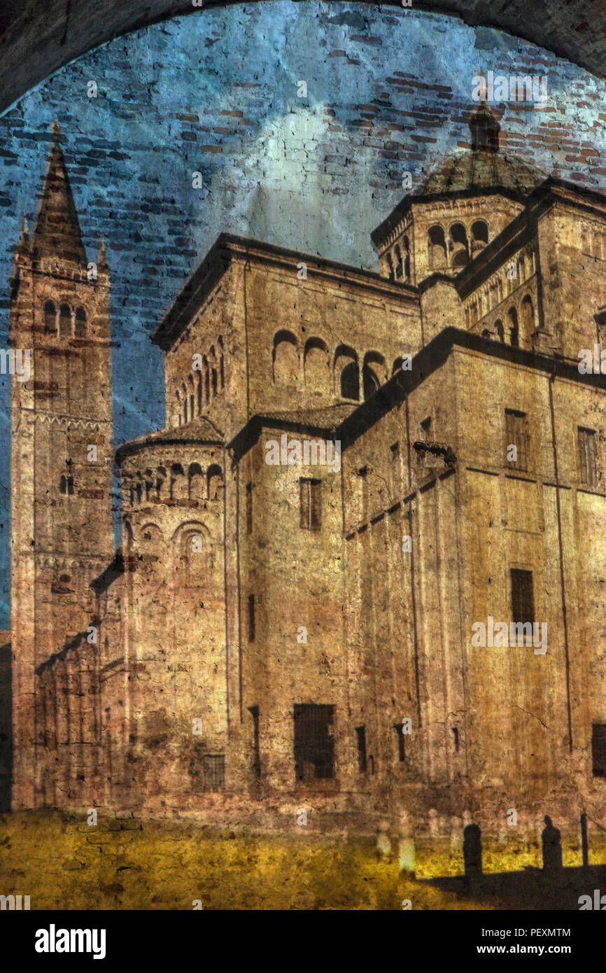 Projected image of castle on brick wall, Lucca, Tuscany, Italy - Stock Image
