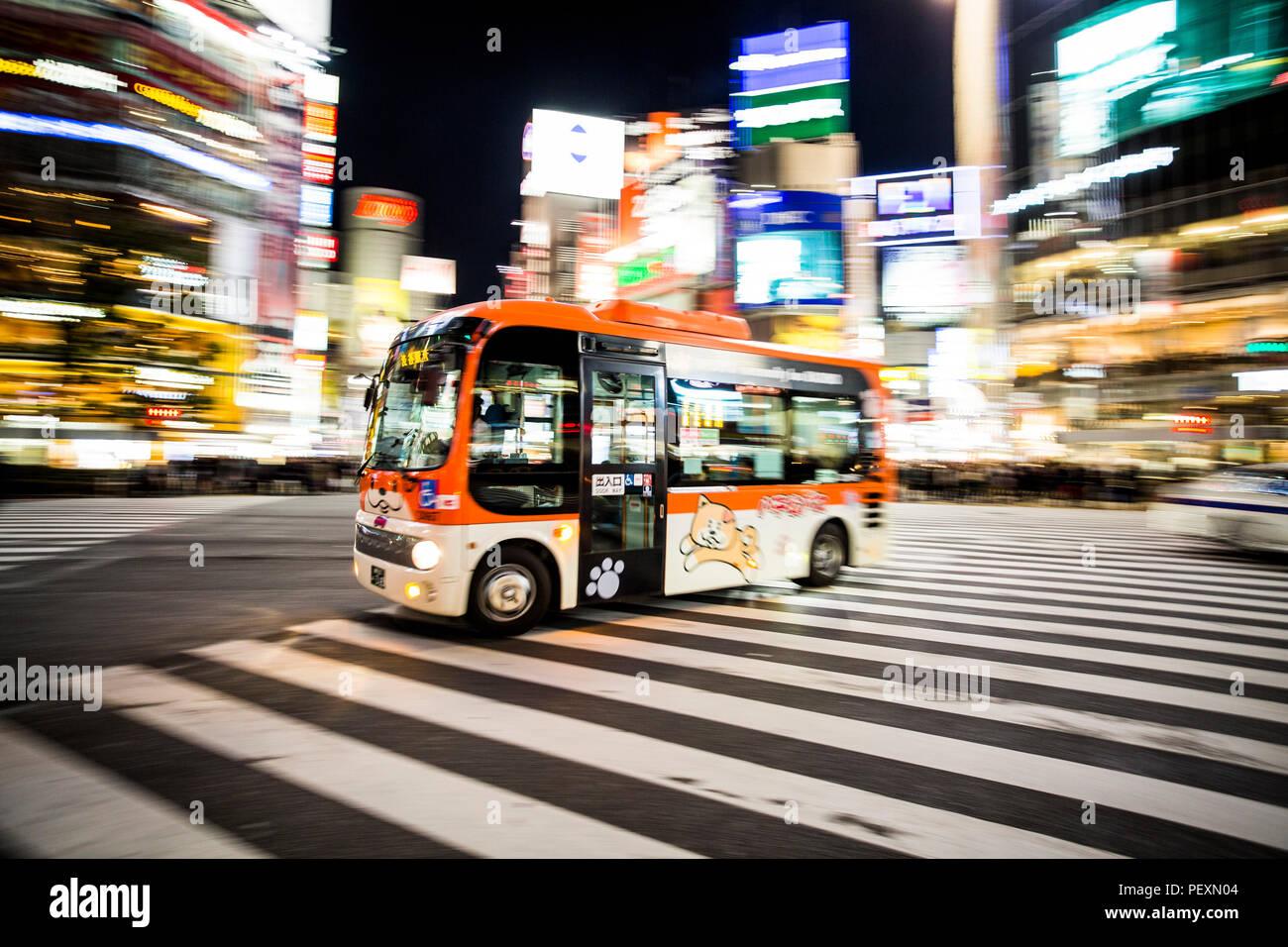 Shibuya Crossing in Tokyo, Japan - Stock Image