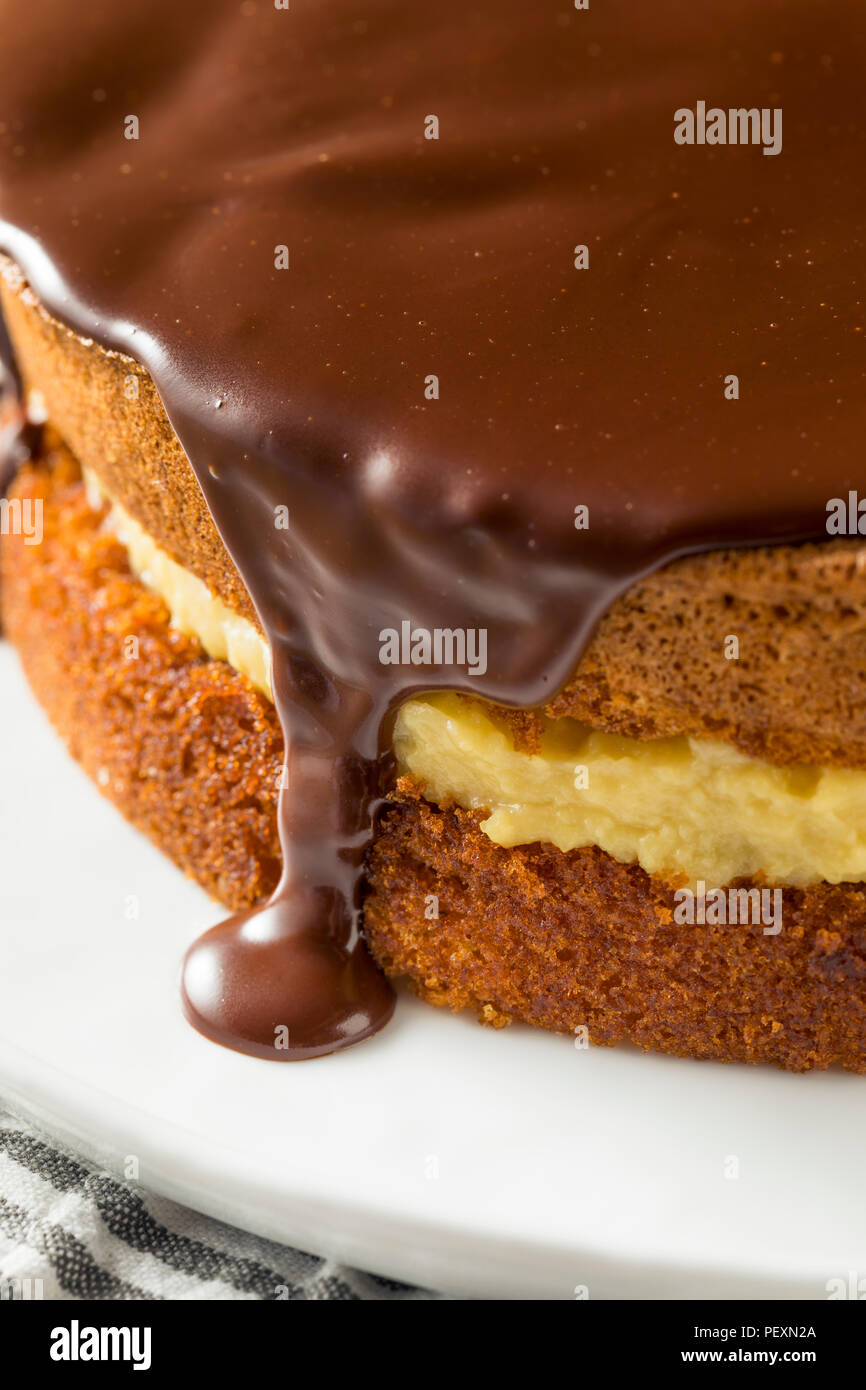 Homemade Chocolate Boston Cream Pie Ready to Eat - Stock Image
