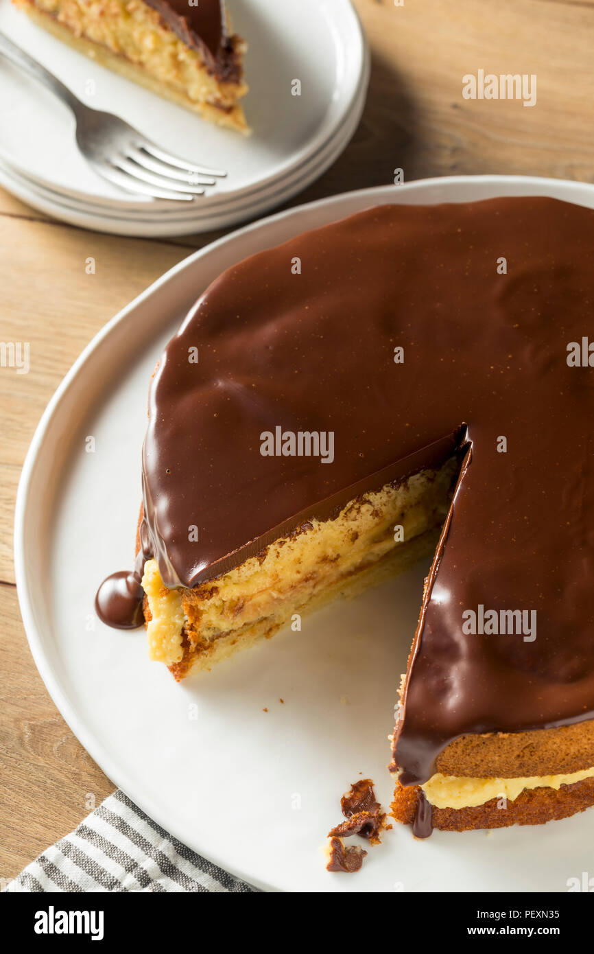 Homemade Chocolate Boston Cream Pie Ready to Eat - Stock Image