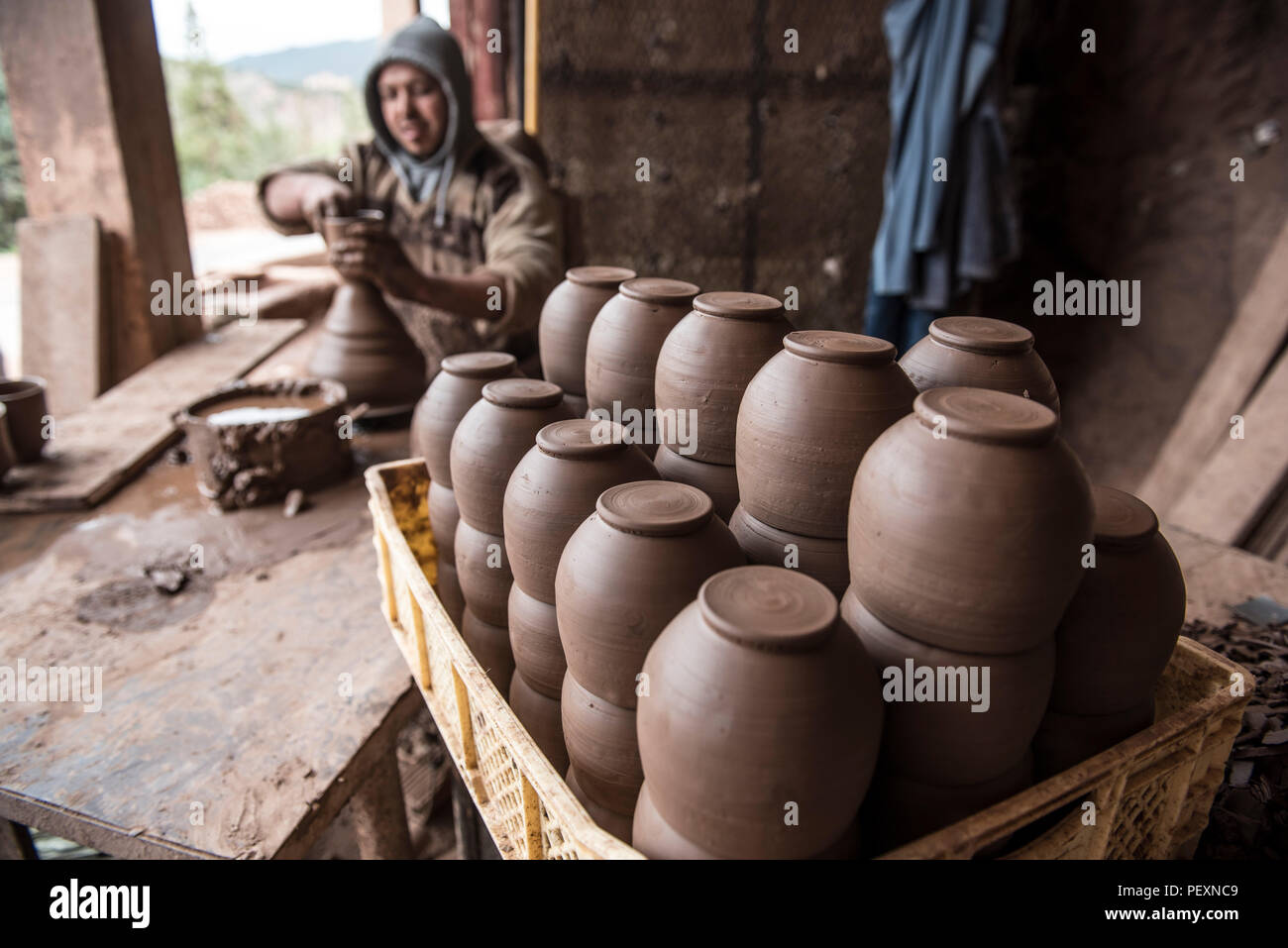 Pottery being made near Marrakesh, Morocco - Stock Image